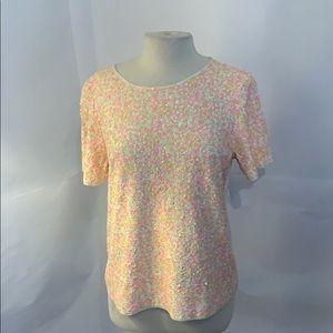 J.crew neon sequin T-shirt size medium